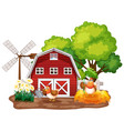 farm theme background with farm animals and red vector image