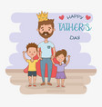 father and kids characters card vector image vector image