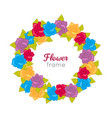 flower frame circle wreath of various blossoms vector image vector image