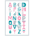 folk alphabet decorated with nordic folk vector image