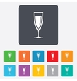 Glass of champagne sign icon Alcohol drink vector image