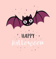 halloween card with cute bat vector image