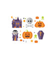halloween icons set castle vampire skull and vector image