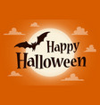 happy halloween text banner with a bat vector image vector image