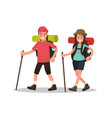 hiking tourists walk a young family couple vector image vector image