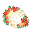 holiday simbol with poinsettia flower decor vector image