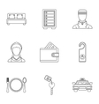 Hotel accommodation icons set outline style vector image vector image