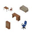 isometric furnishing set of office cabinet table vector image