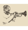 JAZZ Man Playing the Trumpet Hand Drawn Sketch vector image