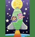 kids riding on a rocket vector image vector image