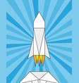 launch of a paper rocket origami vector image