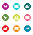 letter delivery icons set flat style vector image vector image