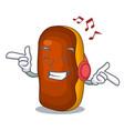 listening music mascot cartoon eclair cake color vector image
