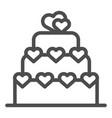 love cake line icon valentine cake sign vector image