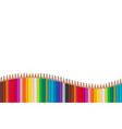 many color pencils arranged in waves on a white vector image vector image