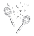 musical instrument maracas on white background vector image vector image