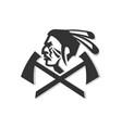 native american warrior crossed hatchet mascot vector image vector image