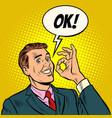 ok man businessman hand gesture okay success vector image vector image