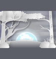 paper art of lanscape snow with fullmoon vector image vector image