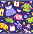 pattern with a collection t-shirts hats vector image