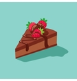 piece chocolate cake with strawberries vector image