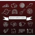 pizza outline icons vector image vector image