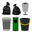 plastic and metallic bins black plastic bags vector image