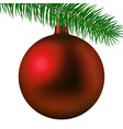 realistic red matte christmas ball or bauble with vector image vector image