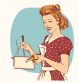 retro young woman in retro clothes cooking soup vector image vector image