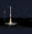 rocket launch from ground at night spaceship vector image vector image