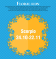Scorpio icon Floral flat design on a blue abstract vector image vector image