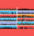 set city landscape silhouettes vector image
