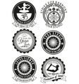 Set of black badges for yoga studio vector image vector image