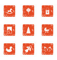 small child playground icons set grunge style vector image