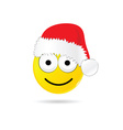smiley yellow with christmas hat vector image vector image