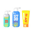 spf creams collection of three isolated on white vector image