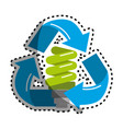 sticker green save bulb with recycling symbol vector image