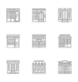 Storefronts linear icons collection vector image