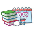 student with book calendar mascot cartoon style vector image