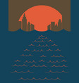 sunset city in the sea vector image
