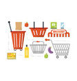 supermarket related icons vector image