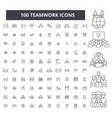 teamwork editable line icons 100 set vector image vector image