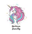 unicorn family love magic dream vector image vector image