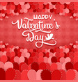 valentines day greeting card with hearts on red vector image
