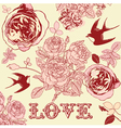 Vintage Floral Love Pattern Background vector image vector image