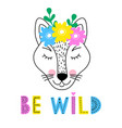 wolf with floral wreath vector image
