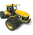 yellow modern tractor vector image vector image