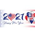 2021 new year usa balloons flag banner vector image