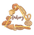 bakery hand drawn design with bread and loaf vector image