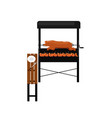 barbecue grill with grilled pork icon vector image vector image